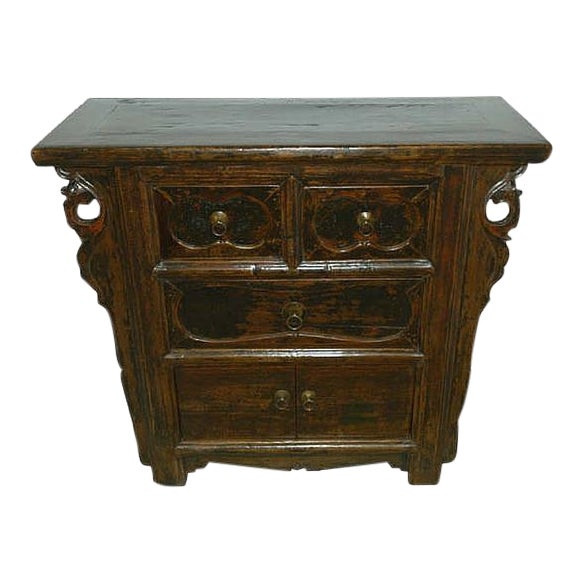 1900s Rustic Natural Console Chest For Sale