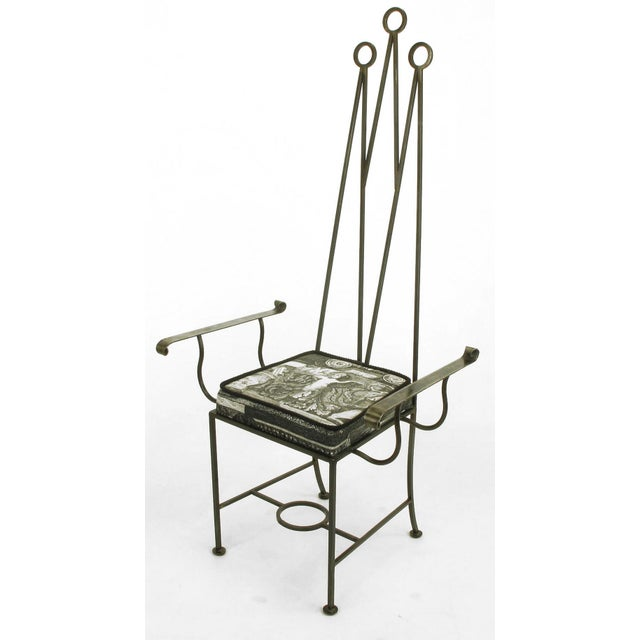 """Set of Eight Blackened, Wrought Iron, Tall """"Royal"""" Dining Chairs For Sale - Image 4 of 10"""