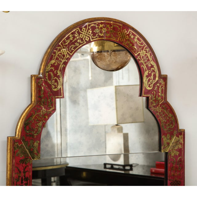 "Reverse-Painted ""Verre Eglomise"" Mirror in Queen Anne Manner"