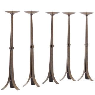 Tall Hammered Brutalist Brass Candelabras