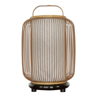 1950s Mid Century Japanese Bamboo Spokes Lantern Lamp For Sale