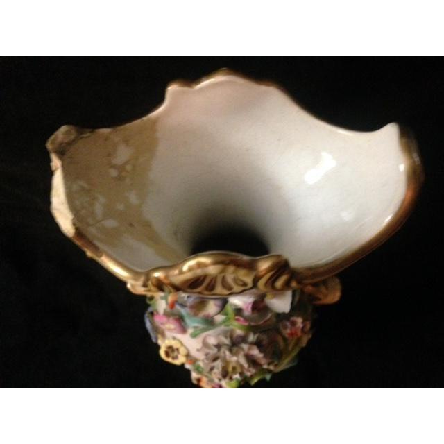 Antique Pastel Floral Porcelain Vase For Sale - Image 11 of 11