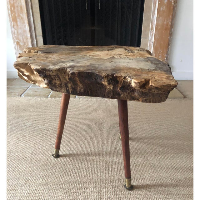 Rustic Live Edge Coffee Table Burl Wood Mid Century Style For Sale - Image 3 of 11