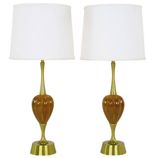Pair of Rembrandt Lamp Company Brass and Ceramic Umber Melon Table Lamps For Sale