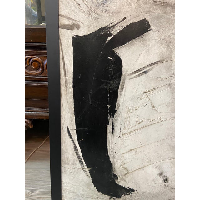 1960s Abstract Black and White Painting by Graham Harmon For Sale - Image 11 of 13