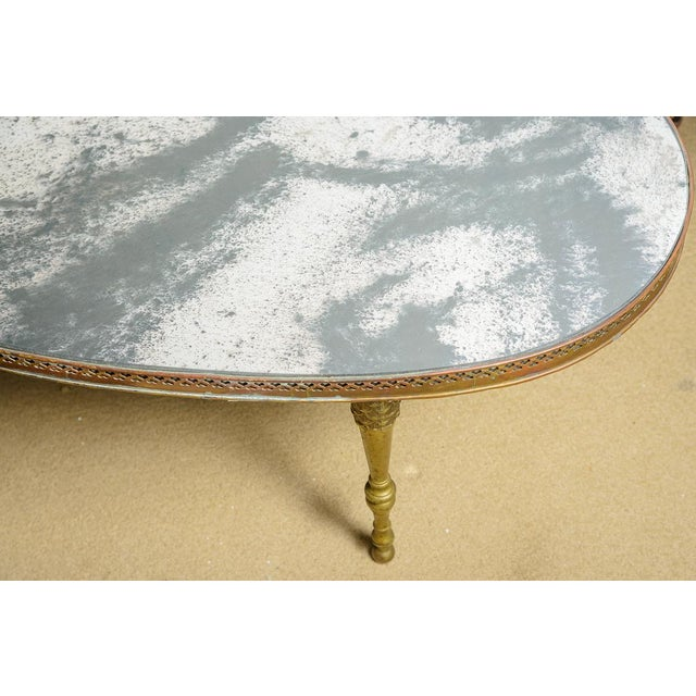French Mirrored Top Cocktail Table With Brass Gallery & Bronze Legs, C.1940-50 For Sale - Image 9 of 11
