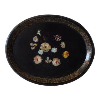 Mid 19th Century Antique French Napoleon III Large Black Papier Mache Tray For Sale