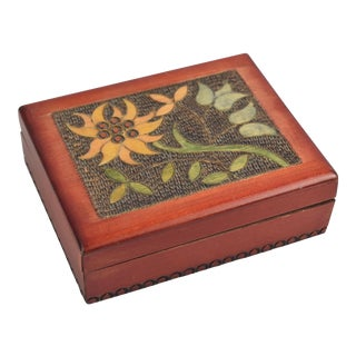 Vintage Pyrography & Wire Inlay Floral Wood Trinket Box