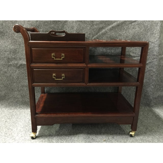Vintage Rosewood Asian Tea Drink Cart - Image 3 of 7