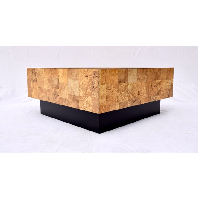Gold 1970's Floating Faux Burl Olive Coffee Table in the Manner of Milo Baughman For Sale - Image 8 of 9