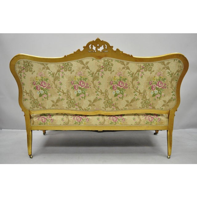 Gold 1920s Vintage French Louis XV Style Gold Gilt Settee For Sale - Image 8 of 10