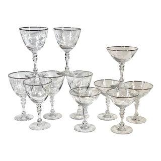Tiffin-Franciscan Platinum Rim Lyndley Cut Leaves Glasses - Set of 11 For Sale