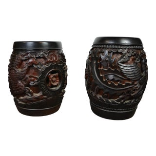 Vintage Mid Century Chinese Carved Stools - a Pair For Sale