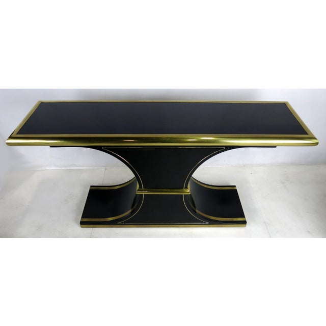 Mastercraft Lacquer and Brass Console by Mastercraft For Sale - Image 4 of 4