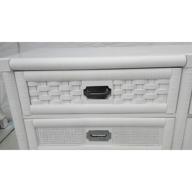 Dixie Lacquered Campaign Wicker Weve Dresser For Sale - Image 5 of 10