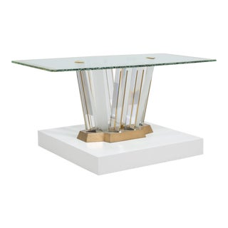 A Superb Lucite and Bronze Dining Table with Unique Glass Top For Sale