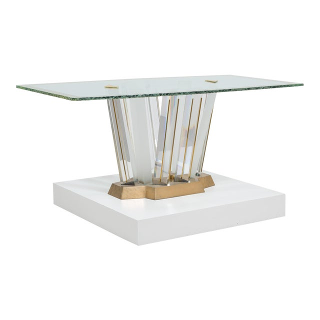 A Superb Lucite and Bronze Dining Table with Unique Glass Top - Image 1 of 11