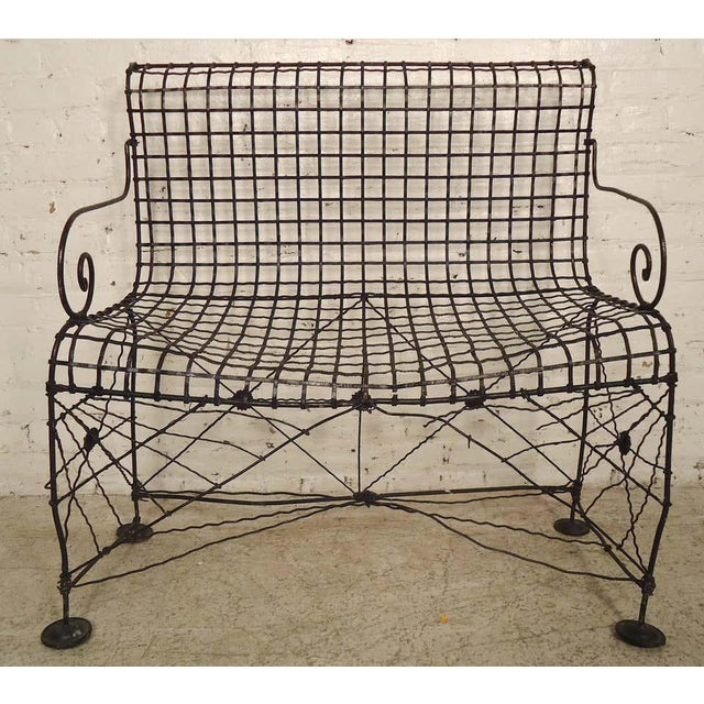 Metal Decorative Wrought Iron Bench For Sale - Image 7 of 7