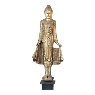 Thai Wooden Standing Buddha For Sale