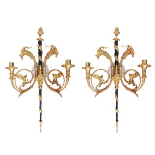 Sculptural 24-Karat Finished Empire Style Wall Sconces - A Pair For Sale