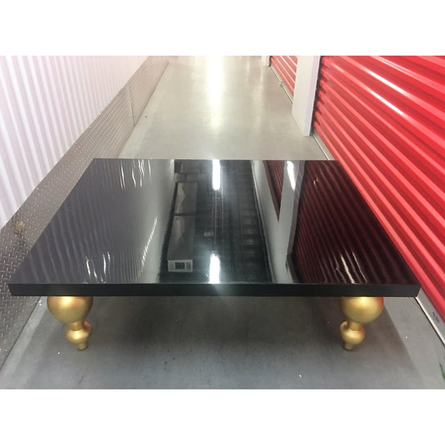 Black Lacquer Coffee Table with Gold Legs - Image 7 of 7