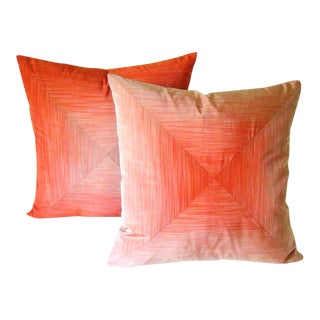 Orange & Beige Mitered Stripe Pillow Covers - A Pair For Sale