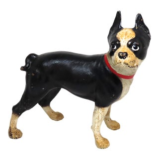 Vintage Hubley Cast Iron Boston Terrier Dog Doorstop For Sale