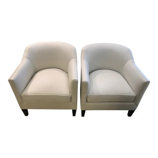 Modern Limited Edition White Leather Tub Barrel Chair- A Pair For Sale