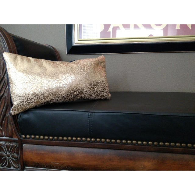 Gambrell Renard Gold Leather & Velvet Pillow - Image 3 of 4
