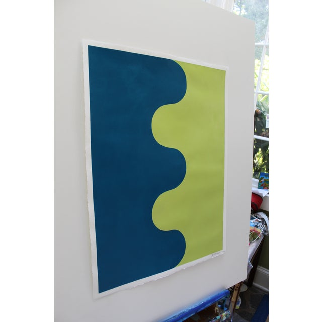 2010s Stephanie Henderson Original Hairpin Serpentine in Marine and Avocado Painting For Sale - Image 5 of 6