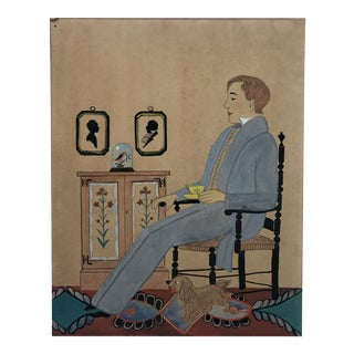 1950s Americana Painting of a Man in an Interior For Sale