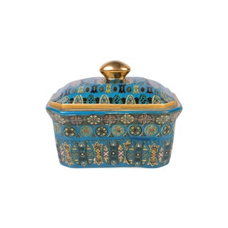 Oriental Patterened Porcelain Candy Box For Sale