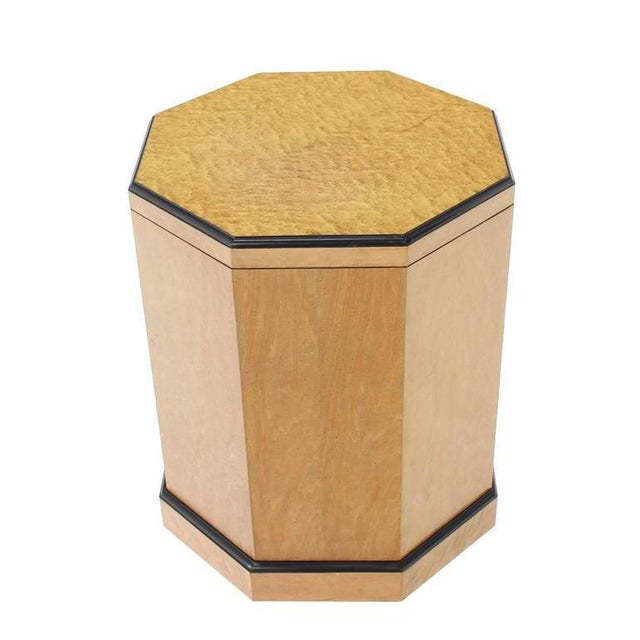 Wood Birds Eye Maple Side Table Pedestal For Sale - Image 7 of 9