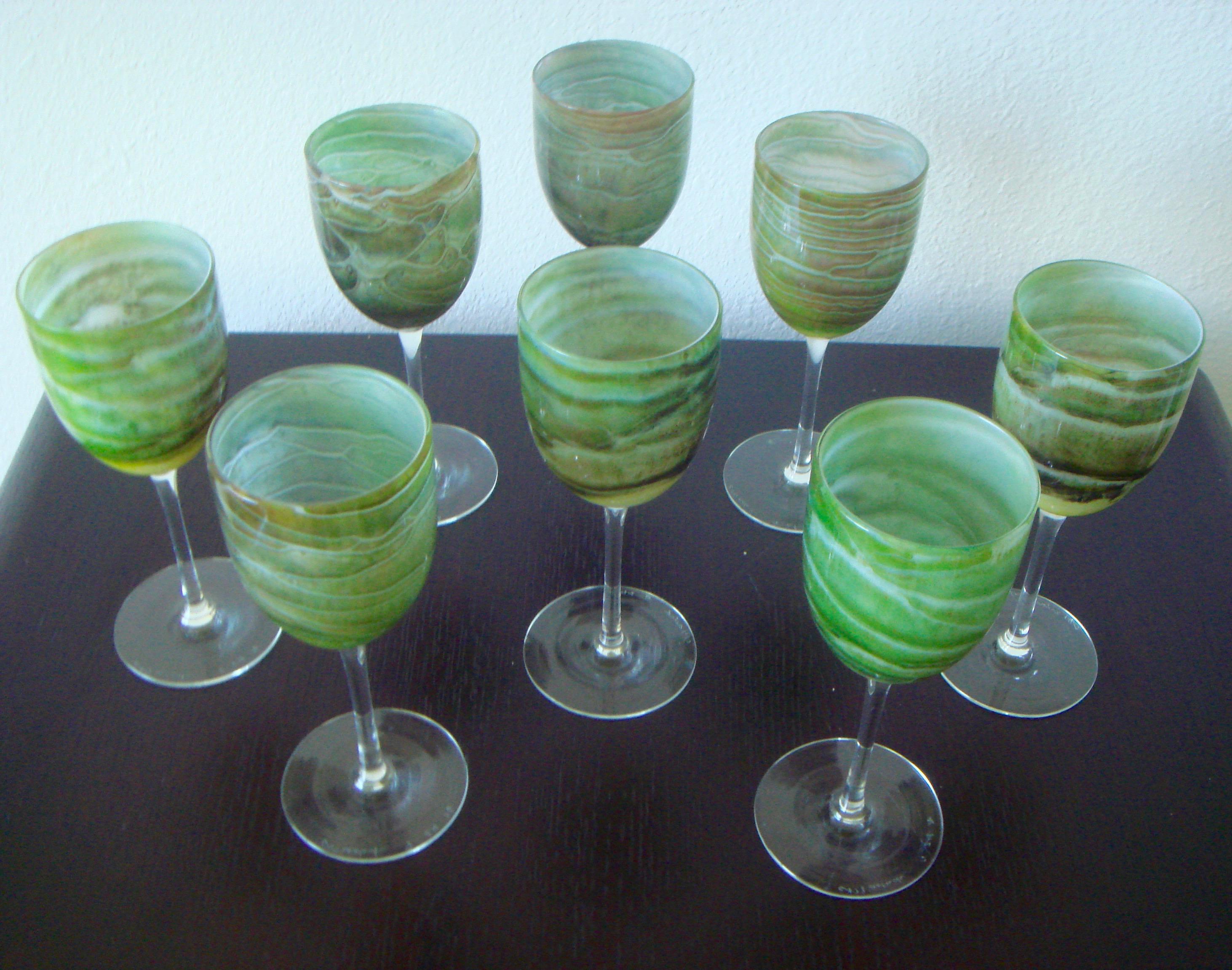Steven Maslach Handblown Wine Glasses   Set Of 8   Image 7 Of 10