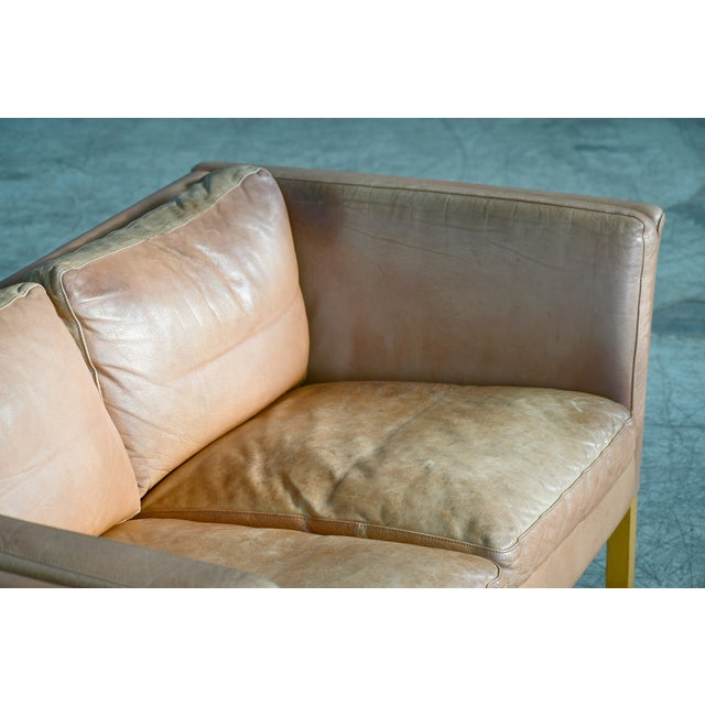 Tan Danish Loveseat in Butterscotch Worn Leather by Stouby Mobler For Sale - Image 8 of 12