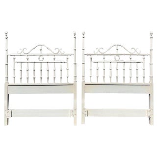 Pair of Faux Bamboo Carved Wood Twin Headboards in White For Sale