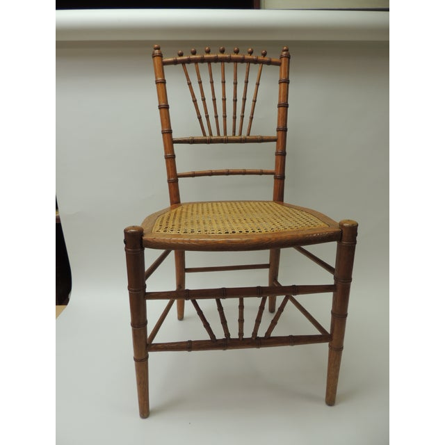 English 19th century bamboo and rattan ballroom chair bamboo, rattan and Honey color, faux bamboo side chair with original...
