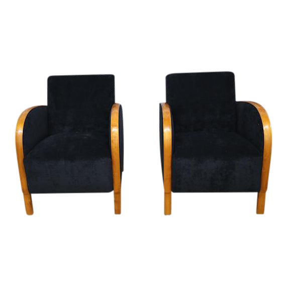 Scandinavian Art Deco Club Chairs- A Pair - Image 1 of 5