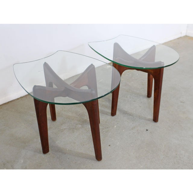 Pair of Mid-Century Danish Modern Adrian Pearsall Stingray Glass Top End Tables Offered is an authentic pair of Adrian...