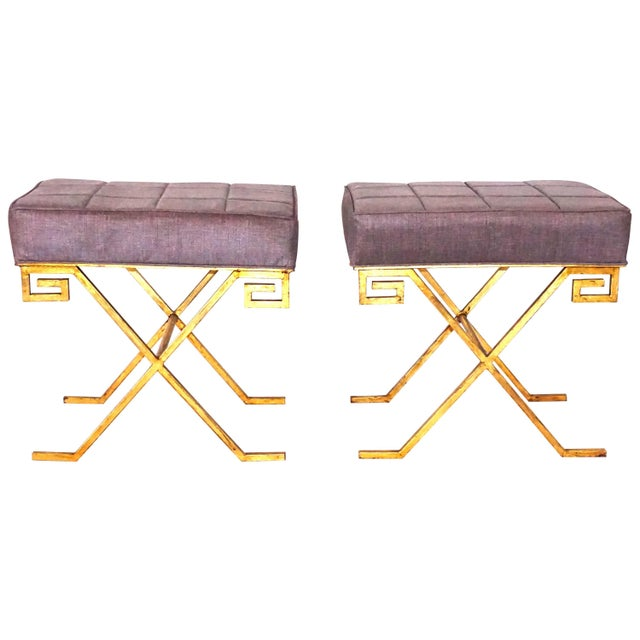 20th Century Gold Iron Stools After Jean Michel Frank - a Pair For Sale In West Palm - Image 6 of 6