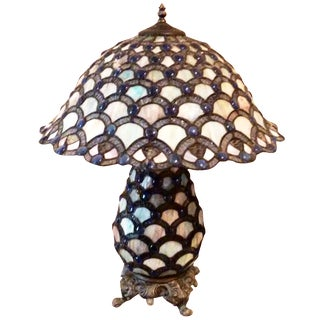 Blue & White Tiffany-Style Lamp For Sale