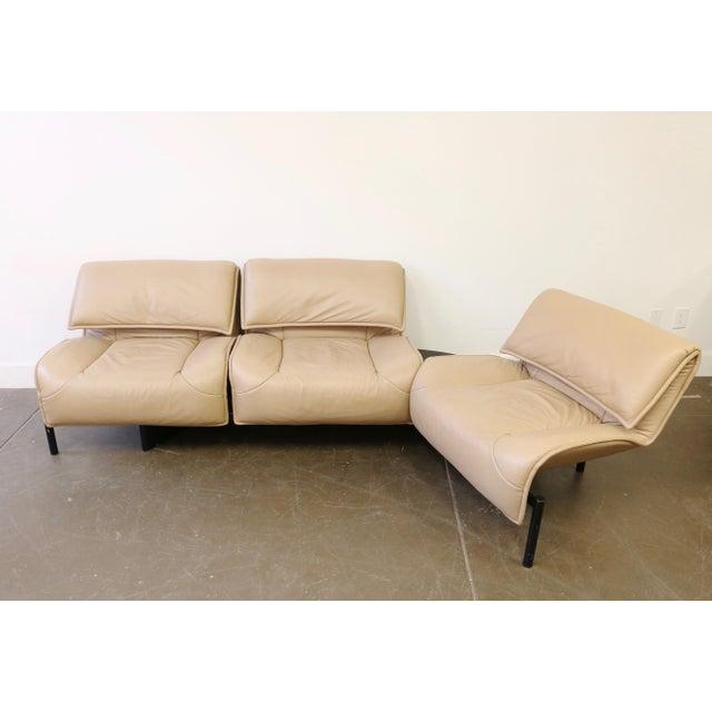 Animal Skin Leather Veranda 3 Sofa by Vico Magistretti for Cassina For Sale - Image 7 of 13