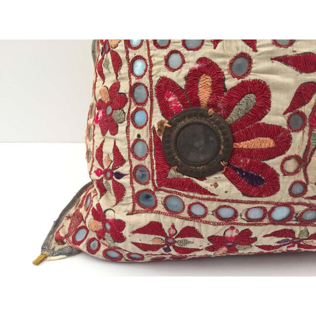 Metal 19th Century, Rajasthani Colorful Embroidery and Mirrored Decorative Pillow For Sale - Image 7 of 11