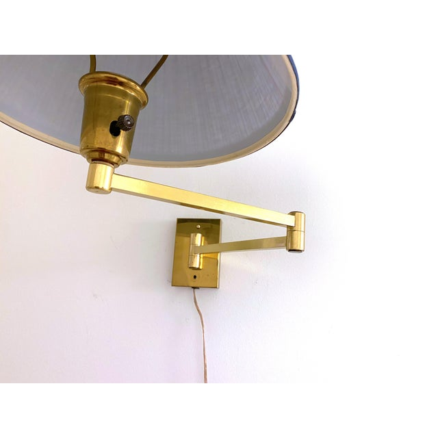 Brass Vintage Double Swing Arm Brass Wall Lamps in the Manner of Hinson - a Pair For Sale - Image 8 of 13