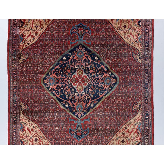 Traditional Mahi Design Bijar Carpet For Sale - Image 3 of 6