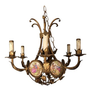 French Gilt Iron Chandelier With Porcelain Genre Scene Panels For Sale