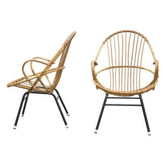 Rohe Noordwolde Bamboo Hoop Chairs - Pair For Sale