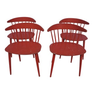 Ejvind A. Johansson for Fdb Møbler Coral Spindle Back Dining Chairs - Set of 4