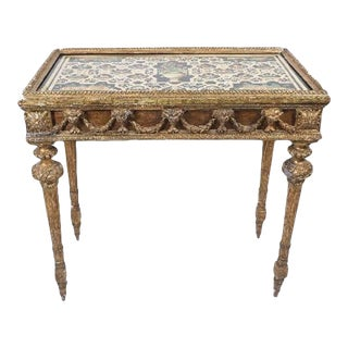18th Century Italian Gilt Wood and Painted Stone Top Table, circa 1780 For Sale
