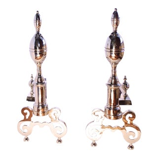American Federal Style Lemon Top Brass Andirons - a Pair For Sale